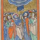 File:Images from the life of Christ - The Ascension, Christ ascends into heaven above the apostles - Psalter of Eleanor of Aquitaine (ca. 1185) - KB 76 F 13, folium 026v.jpg